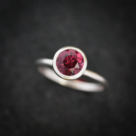 Rhodolite Garnet Solitaire Ring in Matte Sterling Silver available  here .
