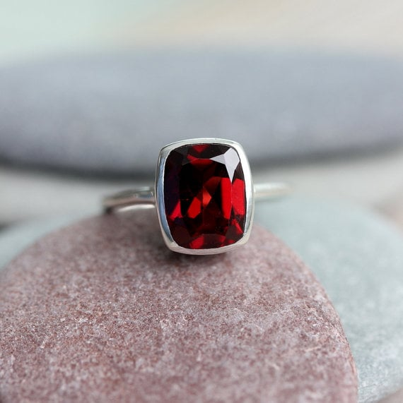 Cushion Cut Crimson Garnet Ring in Sterling Silver available  here .