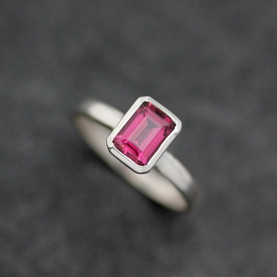 Emerald Cut Pink Garnet Ring in Sterling Silver available  here .