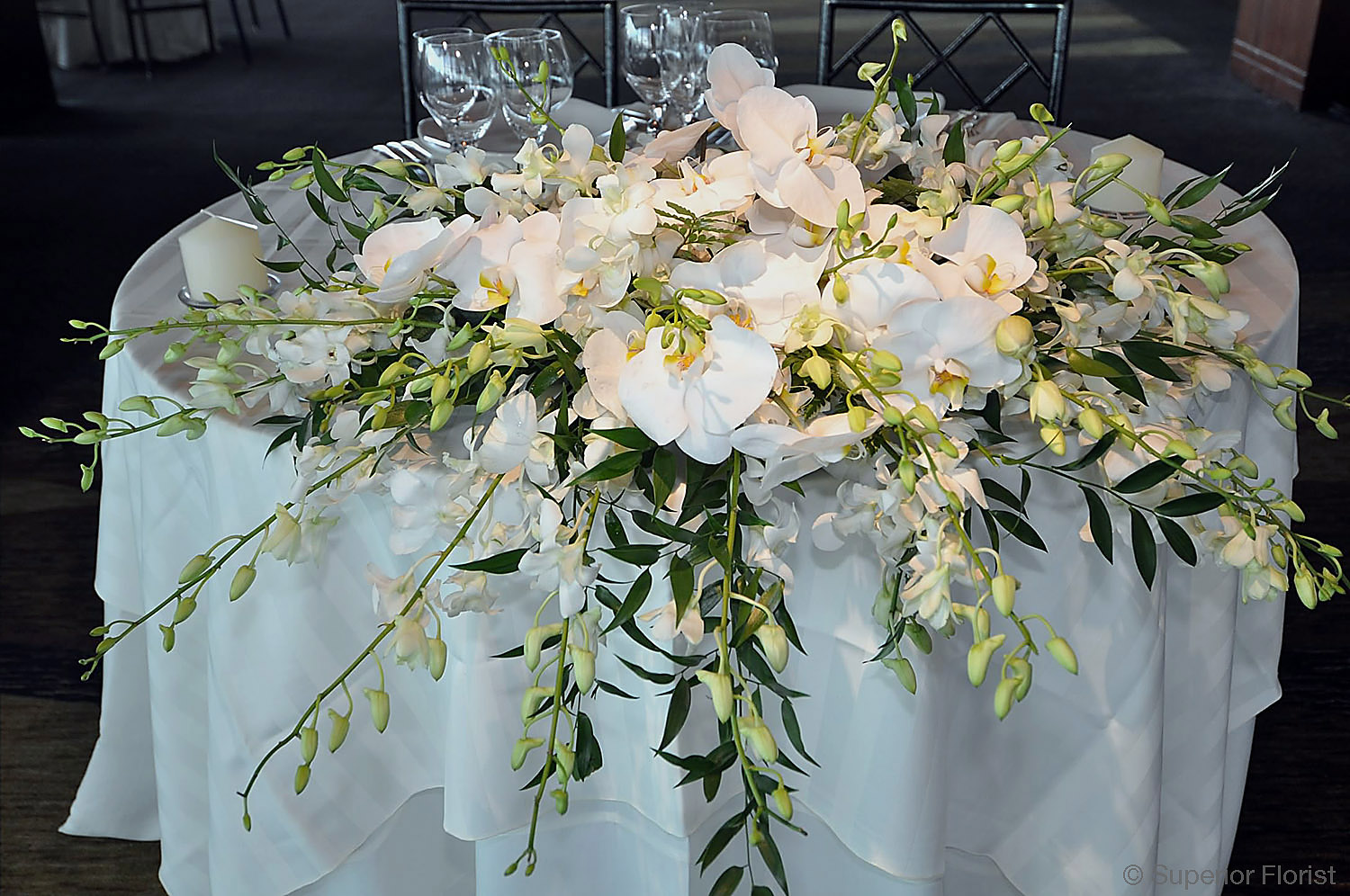 Superior Florist – Sweetheart Tables: Arrangement of Dendrobiums, Phalaenopsis orchids and Italian Ruscus.