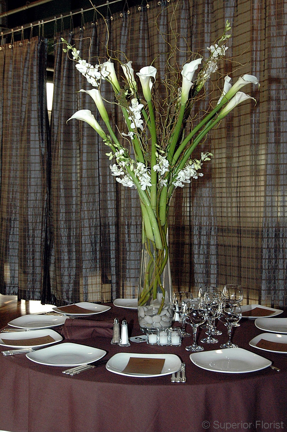 Superior Florist – Centerpieces:  Curly willows, Callas and Dendrobium orchids arranged in a fluted, clear glass vase with river rocks in base.