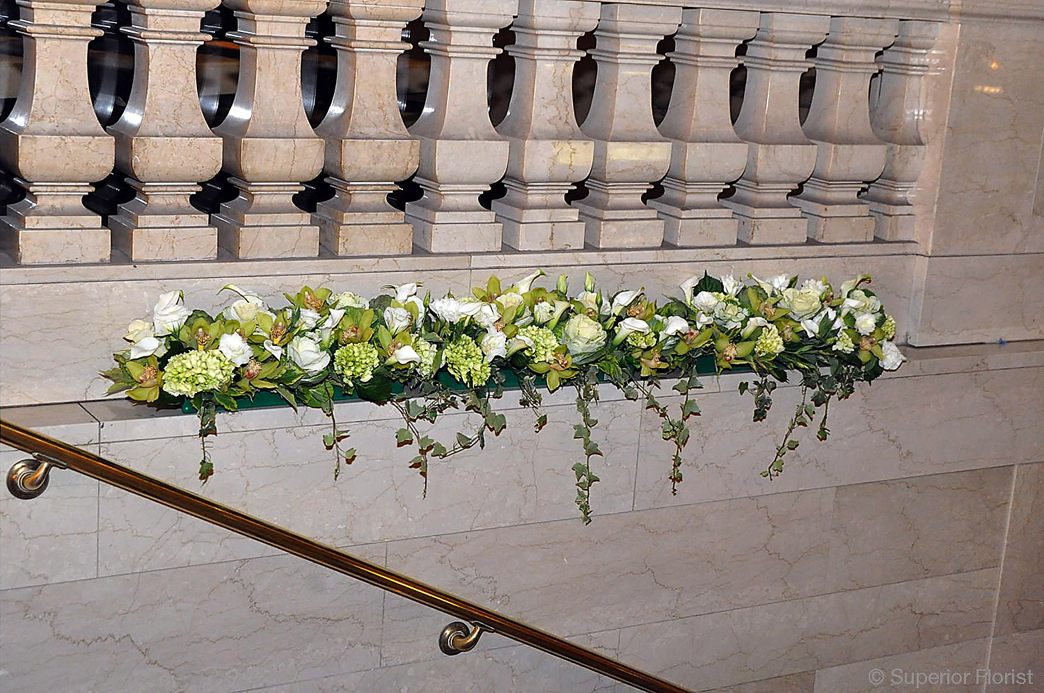 Superior Florist – Wedding Décor:  Floral decoration on staircase ledge at Grand Central Terminal, NYC.