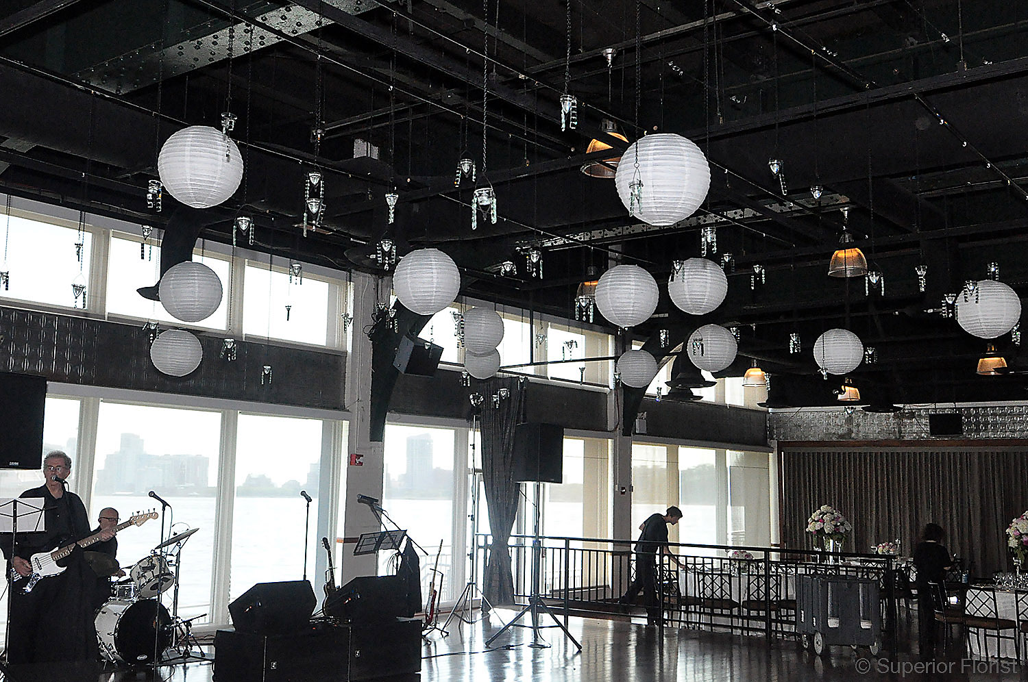 Superior Florist – Wedding Décor:  Suspended votives and lanterns above the dance floor. The Lighthouse at Chelsea Piers, NYC.