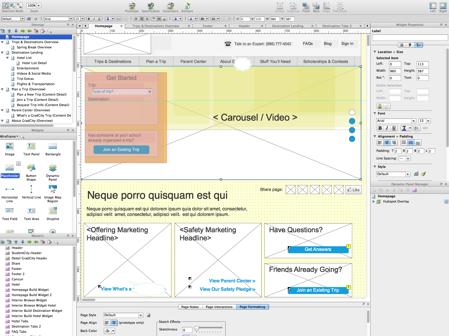 Wireframes: I create my wireframes using Axure.  I find that its prototyping ability allows me to create a workable version I can show to clients and test with customers in the same amount of time it used to take me to create flat wireframes.  The Axure interface is pictured above.
