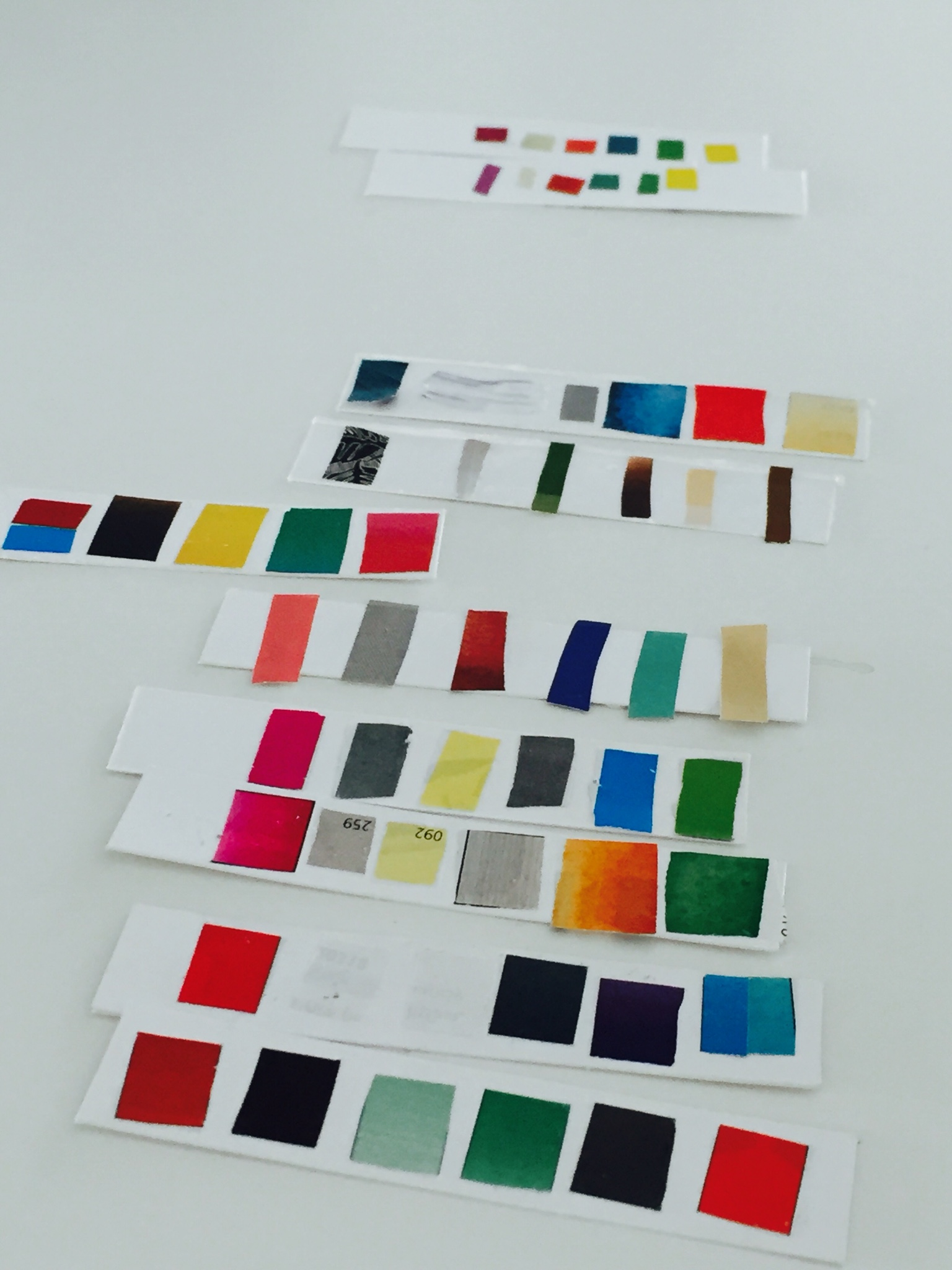 The Colourscape Lab - WorkshopGovier developed the Colourscape Lab through the support of the Arnolfini's 'Space in Kind' scheme.The one day Lab brought together a group of artists and anthropologists who trialled and interrogated the 'colourscape' method.During the Lab, participants created and explored colour profiles that corresponded to individual and shared perceptions of the environment and the body.The Lab was inspired by Hayward and Kennedy's socio-geographic colour mapping project ColourGround and Lancaster's (1996) discussion of colourscapes and colour control.Professor Paul Haywood (Central Saint Martins) attended the Lab and talked about his colour-based research.The colourscape method is a sensory elicitation technique for ethnographic research, and involves using colour-based elicitation to offer new dimensions to traditional empirical research (see Harper 2002).Light Studio, Arnolfini, Bristol.18.4.16