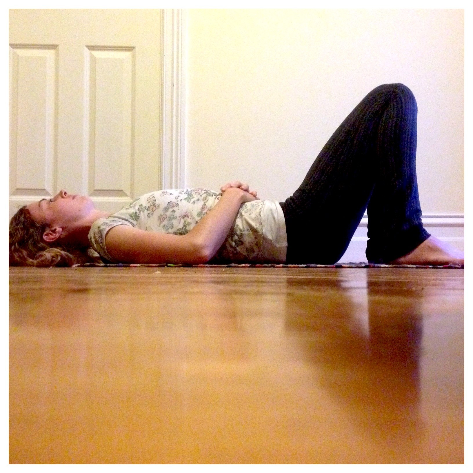 ...or perhaps what I like to refer to as 'constructive rest pose', whichever feels most comfortable for you. (Can you see those tight shoulders I was describing before here, creeping up off the floor?)
