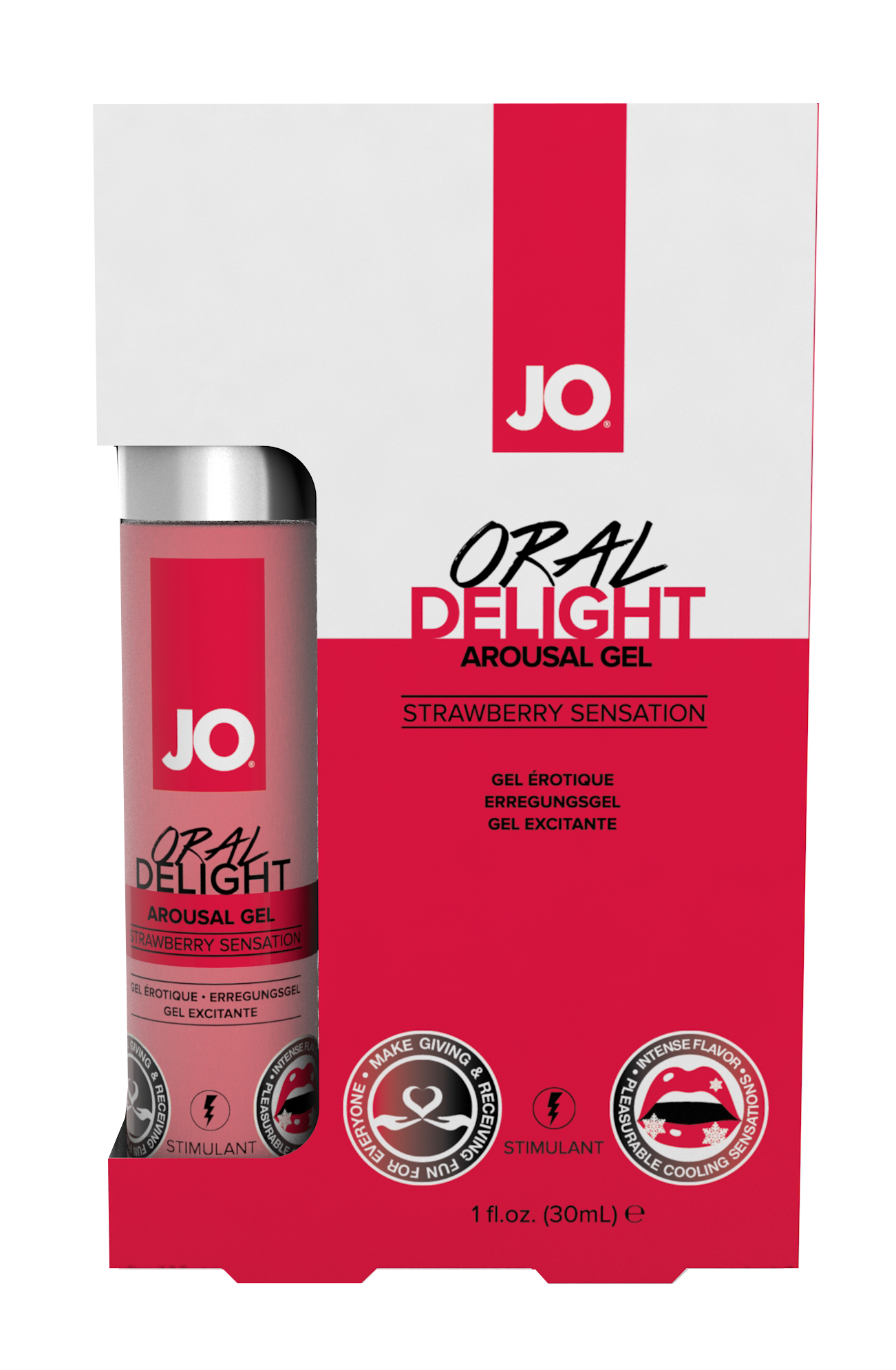 40481 - JO ORAL DELIGHT - STRAWBERRY SENSATION - 1fl.oz 30mL  (MOQ 12 units - Includes Counter Display C.png