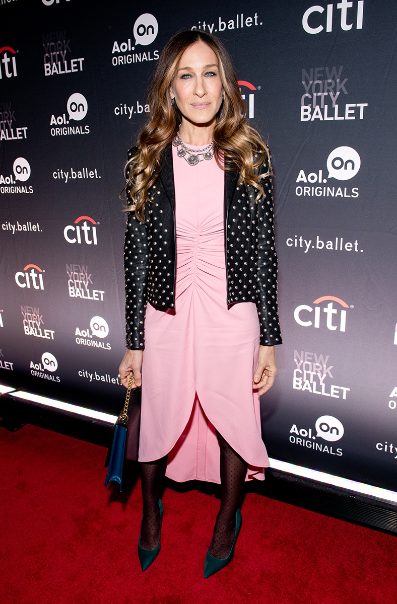 sarah-jessica-parker-Saint Laurent jacket Giles dress.jpg