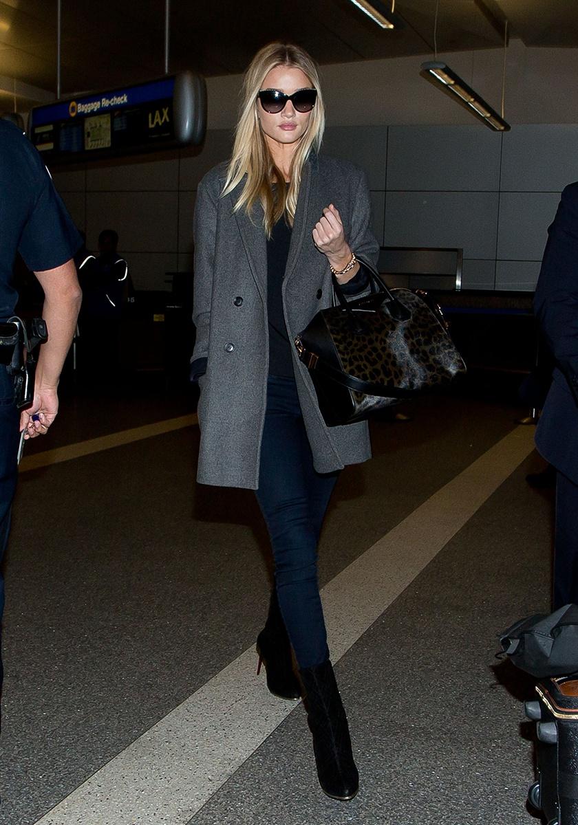 J Brand jeans, Chanel sunglasses, Givenchy bag, Isabel Marant pour H&M coat, Balmain shoes   Los Angeles International Airport, February 2014