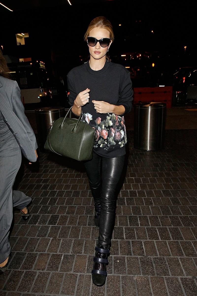 Helmut Lang pants, Givenchy sweatshirt, Givenchy bag, Anita Ko jewelry, Isabel Marant shoes   Los Angeles International Airport, November 2013