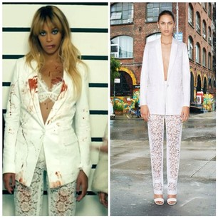 Stylist Ty Hunter does an amazing job styling Beyonce as per usual. Bey is spotted wearing a $3,390 Givenchy's Lace and Cotton Twill Blazer and $2,150 Givenchy Dentelle Lace Trousers. The blazer features single button fastening, padded shoulders, buttoned cuffs, and side flap pockets. The lace trousers features a concealed hook with zip closure, and slit pockets on the back