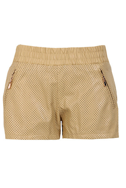 Boohoo Patsey Perforated Leather Look Hotpants $40.