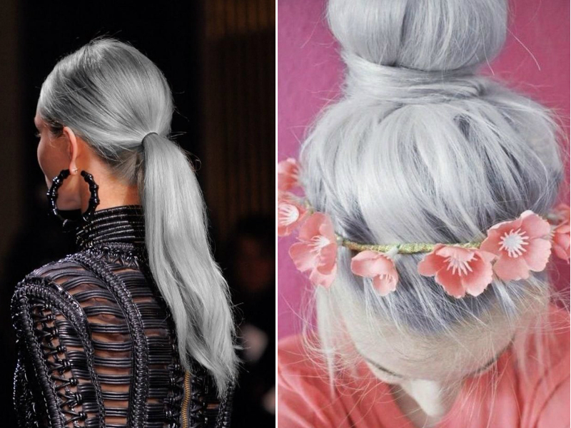 4. The granny hair trend has a strong air of feminism, don't you think? Women always tried to hide their natural color which traitorously demonstrated their age. Now even the youngest cutie-pie dreams to become silver-headed to show off that woman are free to be beautiful the way she wants. Not bad.