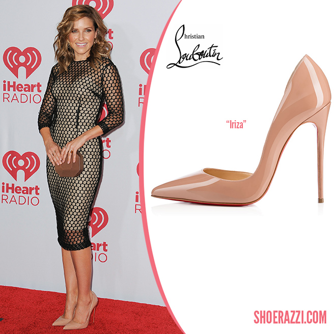 Credit: Bridow/Wenn   Sophia Bush  wore  Christian Louboutin   Iriza  pumps to the 2014 iHeartRadio Music Festival held at the MGM Grand Garden Arena in Las Vegas. They feature nude patent leather, half d'Orsay design and 120mm heel.  Iriza  is available with a 100mm heel in burgundy satin at  Net-A-Porter , plus in several other styles at  Saks Fifth Avenue , Neiman Marcus  and  Christian Louboutin .   Outfit Details : Monique Lhuillier Fall 2014  nude lace net long sleeve midi dress , a  Rauwolf  Octagon  clutch , Vita Fede double stone  Lia  rings in abalone and yellow gold plus a Graziela Gems   Deco  band ring  &   The Slither  earrings .
