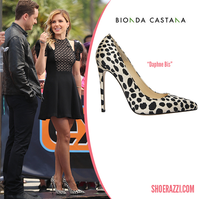 Credit: Wenn   Sophia Bush was spotted on the set of 'Extra TV' at Universal City Walk in Los Angeles wearing  Bionda Castana  Daphne Bis pumps. They're from the Spring/Summer 2014 collection featuring dalmatian printed silk satin and 120mm covered heel. Daphne Bis  available at  Bionda Castana .  Sophia and her 'Chicago PD' costar,Jesse Lee Soffer spoke to host Mario Lopez about Season 1 of their TV drama series.She arrived wearing a black Jill Stuart cap sleeve dress with a cutout neckline, crochet paneled bodice and short, flared skirt from the  Spring 2014 collection . You can find a similar dress from the same collection at Shopbop .  She also accessorized with a Gaydamak   Koral hand bracelet , Andi Alyse bangle and H.Stern cognac diamond   Zephyr earrings .