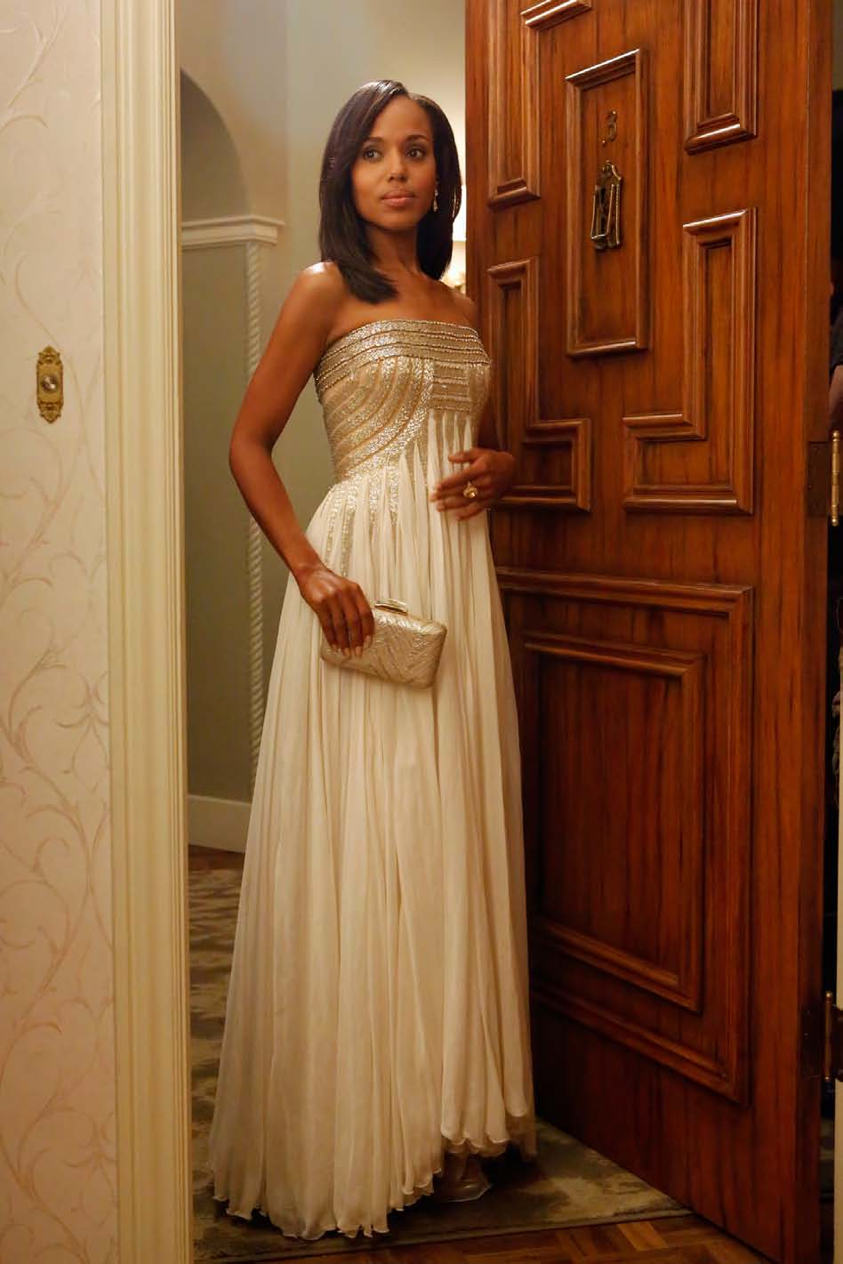 """abc.go.com    Episode : Season 2, Episode 8, """"Happy Birthday, Mr. President""""  Designer : Jean Fares Couture  Why it was chosen:  """"She was going with her boyfriend to this event,"""" said Paolo. """"She was not thinking about Fitz. She's actually considering being done with him. It's kind of a romantic moment, so we wanted the gown not to be just a straight up and down column, we wanted it to be romantic.""""  Fun Fact : The dress was vintage, and completely falling apart. """"The chiffon on the bottom was completely rotted,"""" Paolo said. """"I spent the whole weekend working on this gown."""" They also wanted the dress to float when Washington ran in it, so they rented a few wind machines, but didn't end up using them because it was a stormy night when they filmed."""