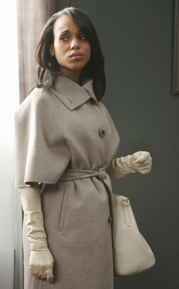 """abc.go.com   Episode: Season 2, Episode 14, """"Whiskey Tango Foxtrot"""" Designer: Max Mara Why it was chosen: Pope was running around, and she's a put-together woman. If she's going out in Washington in the middle of winter wearing a three-quarter sleeve coat, you better believe she's wearing gloves. Fun Fact: """"That was the only time I almost got into trouble, because Shonda [Rhimes] was like, 'I don't know why she'd put on gloves,' and I said she'd need something to keep her warm. But we brought back gloves; even Vera Wang said, 'You brought back gloves.'"""""""