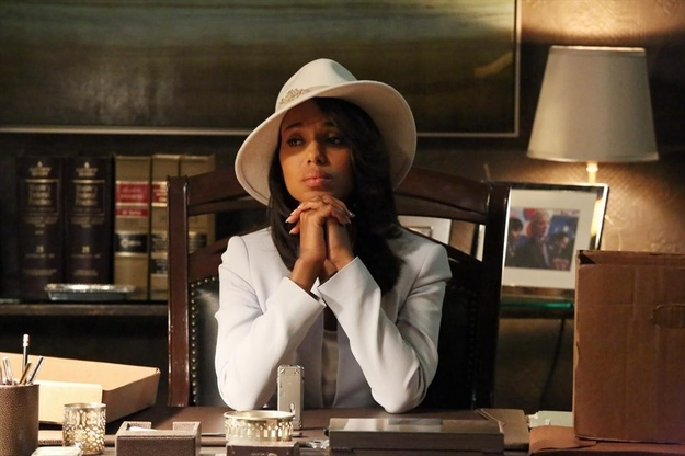 """Episode  : Season 2, Episode 22, """"White Hat's Back On""""   Designer  : Louise Green   Why it was chosen  : """"It's a hat that David [Rosen] bought for her, and we had it custom-made. It was a tricky hat… we made all of these different brim widths for that hat. The first hats I picked — because I'm from England — were very dramatic, and very Kate Middleton. And I had to reel myself back in, because Kerry reminded me nicely that David picked the hat out. There are things about it that still trouble me to this day, but Shonda loved it and Kerry loved it."""""""