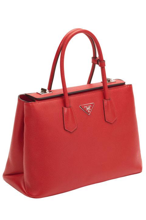Prada Saffiano Twin Bag, $2,950.00, Select Prada Boutiques, prada.com .  COURTESY PRADA