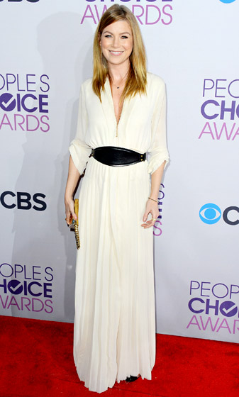Credit: Frazer Harrison/Getty   Ellen Pompeo wore a long-sleeve silk dress with a pleated skirt and black leather belt by Lanvin to the 2013 People's Choice Awards. She completed her ensemble with Christian Louboutin heels, Sydney Evan jewelry and a Jennifer Meyer pendant.  Read more:  http://www.usmagazine.com/celebrity-style/pictures/hollywoods-hottest-fashion-designers-2013192/28608#ixzz3mlyGlTDB