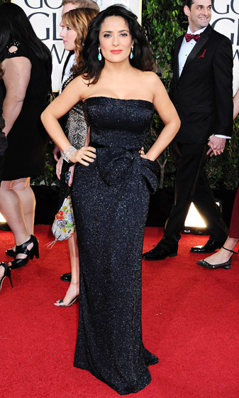 Credit: Sara De Boer/Startraksphoto.com    Here Comes the Boom 's Salma Hayek glittered in Gucci's gown at the 2013 Golden Globes.  Read more:  http://www.usmagazine.com/celebrity-style/pictures/hollywoods-hottest-fashion-designers-2013192/28609#ixzz3mlyezfUH