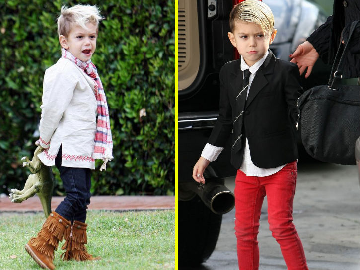 KINGSTON ROSSDALE  The oldest son of Gwen Stefani and Gavin Rossdale has a unique and edgy style that is well put together. His mother has always been a trend setter, so it is not a surprise that this little guy follows in her footsteps. Whether he is rocking a Mohawk or tousled hair, he usually has a button shirt on with slim-fitting pants and converse.