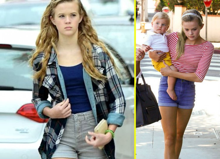 AVA PHILLIPPE  Bearing a striking resemblance to her mother Reese Witherspoon, Ava is a gorgeous teenager with a great fashion sense. Often seen wearing shorts with sweaters or cardigans, she tends to keep her style more simplistic like her mother. She usually highlights her natural beauty, which is a great quality these days.