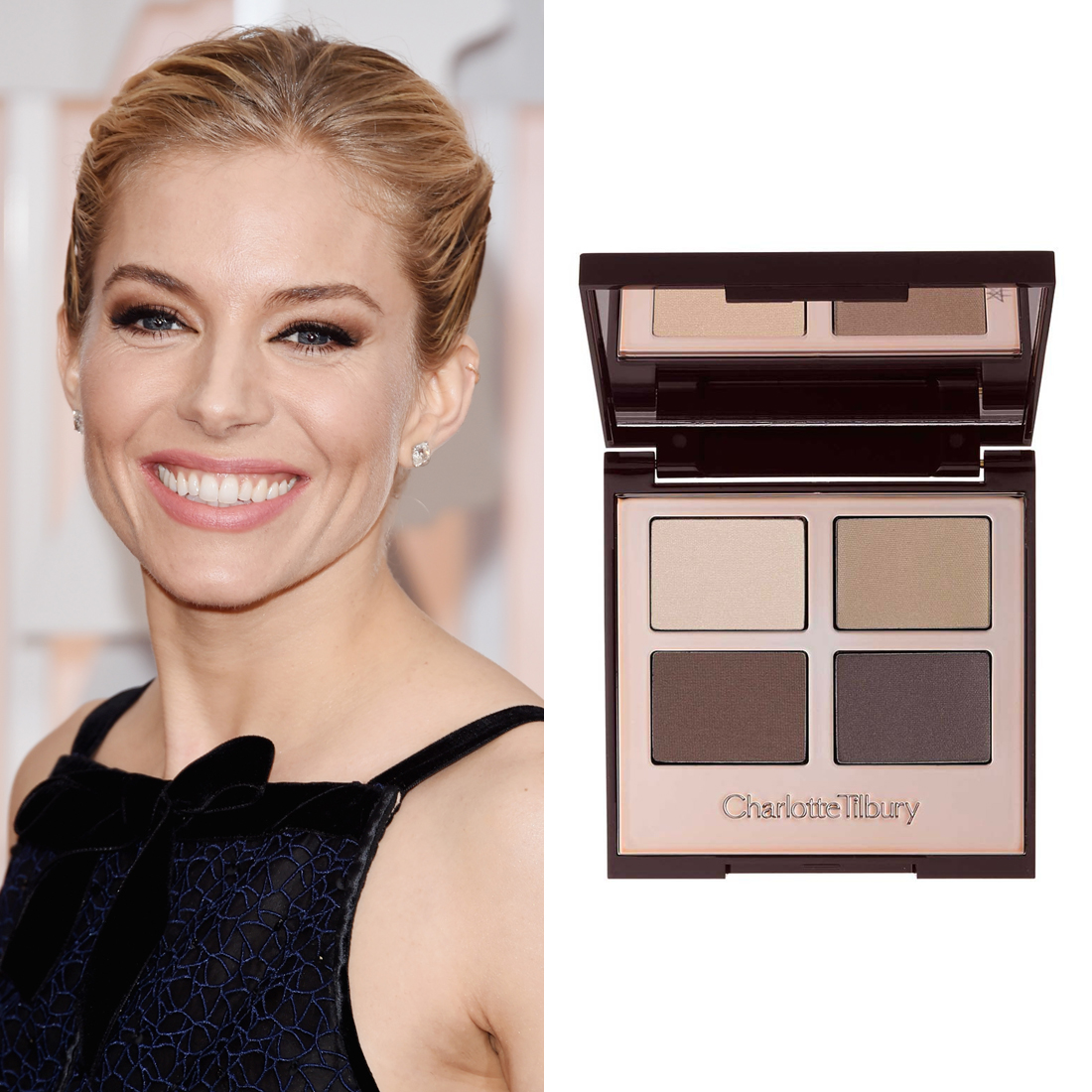 Sienna Miller at the Oscars     Makeup artist  Charlotte Tilbury  used her  Eye Shadow Luxury Palette in The Sophisticate ($88.28) to create a winged shadow shape on Sienna.  Image Source:  Getty    Read More     Oscars Beauty  Charlotte Tilbury  Celebrity Beauty  Sienna Miller  Award Season  Beauty Shopping  Oscars  Golden Globe Awards  Red Carpet