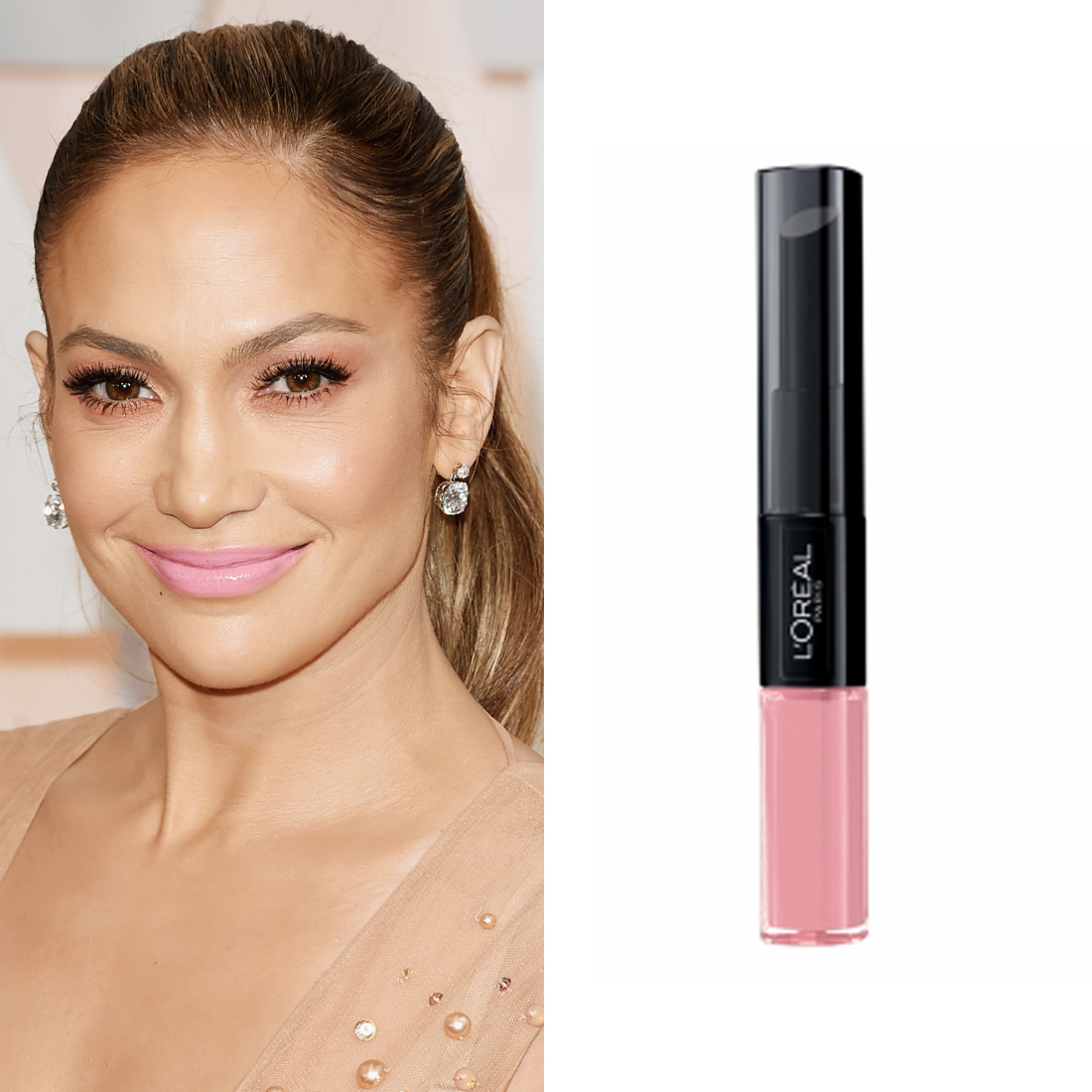 Jennifer Lopez at the Oscars      L'Oréal Paris Infallible Pro-Last Colour in Timeless Rose  ($29.95) was the pop of pink Mary Phillips added to turn Jennifer's bronze makeup palette into something worthy of a princess.  Image Source:  Getty    Read More     Oscars Beauty  Celebrity Beauty  Jennifer Lopez  Award Season  Beauty Shopping  Oscars  Golden Globe Awards  L'Oreal Paris  Red Carpet