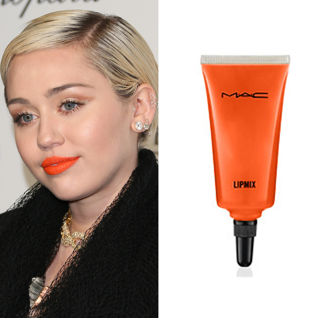 Miley Cyrus at the Oscars     Miley's bright orange lipstick was a mix of three different shades. First, makeup artist Pati Dubroff layered  Mac Cosmetics Lipsticks in Neon Orange and Morange  ($36 each). Then, she added a topcoat of  Lipmix in Orange  ($25) to get the traffic-cone hue.  Image Source:  Getty    Read More     Oscars Beauty  Celebrity Beauty  Award Season  Beauty Shopping  Oscars  Golden Globe Awards  MAC Cosmetics  Red Carpet  Miley Cyrus