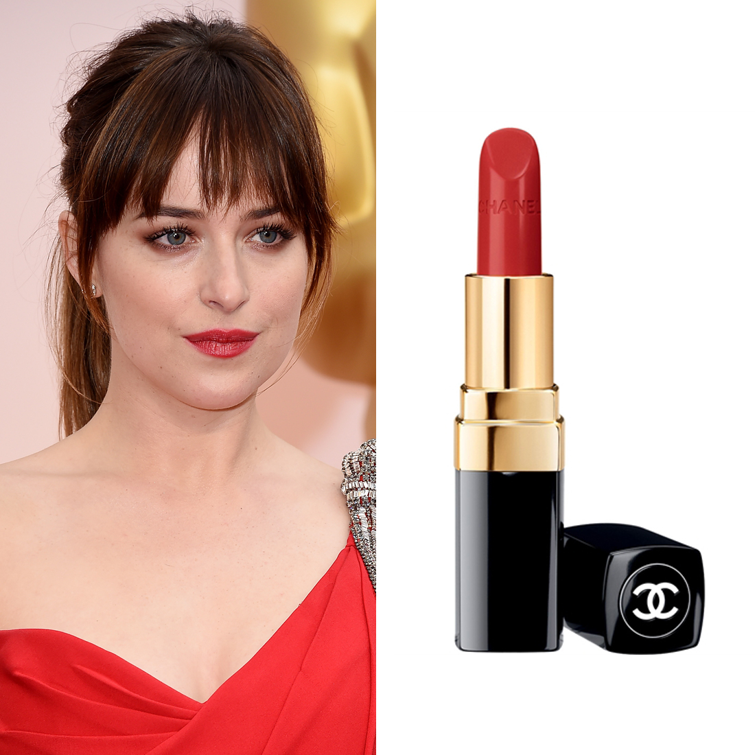 Dakota Johnson at the Oscars     For a long-wear red lip colour, makeup artist Kara Yoshimoto Bua applied a small amount of  Rouge Coco Ultra Hydrating Lip Colour in Gabrielle  ($52). Then, she blotted the colour away before adding another, more saturated layer.  Image Source:  Getty    Read More     Oscars Beauty  Celebrity Beauty  Award Season  Beauty Shopping  Oscars  Golden Globe Awards  Dakota Johnson  Chanel  Red Carpet