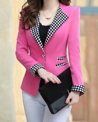 Elegant Long Sleeve Lapel Plaid Splicing Women's Blazer - pink 1.jpg