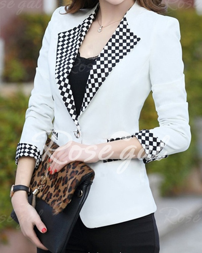 Elegant Long Sleeve Lapel Plaid Splicing Women's Blazer 2.jpg