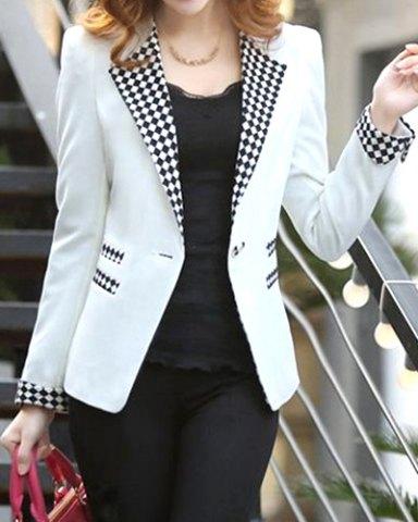 Elegant Long Sleeve Lapel Plaid Splicing Women's Blazer.jpg