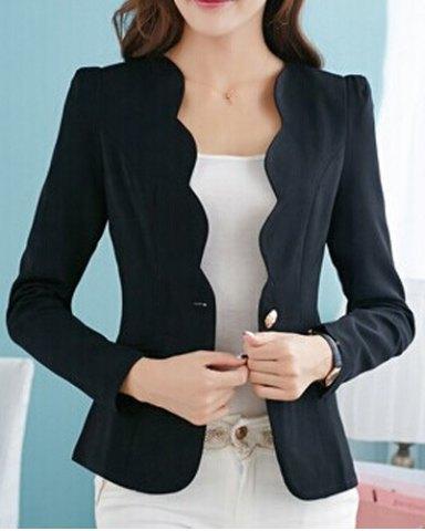 Simple Design V-Neck Long Sleeve Solid Color Blazer For Women.jpg
