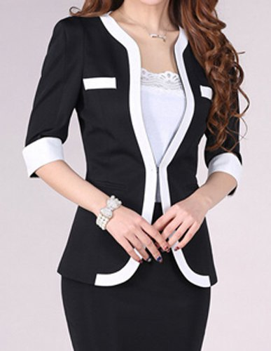Women's OL V-neck Autumn White Black Color Slim Suits Jacket Coat.jpg