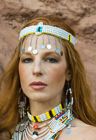 Hand Crafted by the women of the The Ngorongoro District Maasai Warrior Village in Tanzania, Africa.   One Of a Kind.  Authentic Tribal Artifact    Made with   Recycled Plastic, Mixed Metals & Beads.  Can be Worn as a Headdress or Necklace Choker