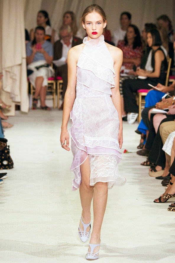 Oscar de la Renta  Oscar de la Renta's sweetened take on the new season's standout trend.