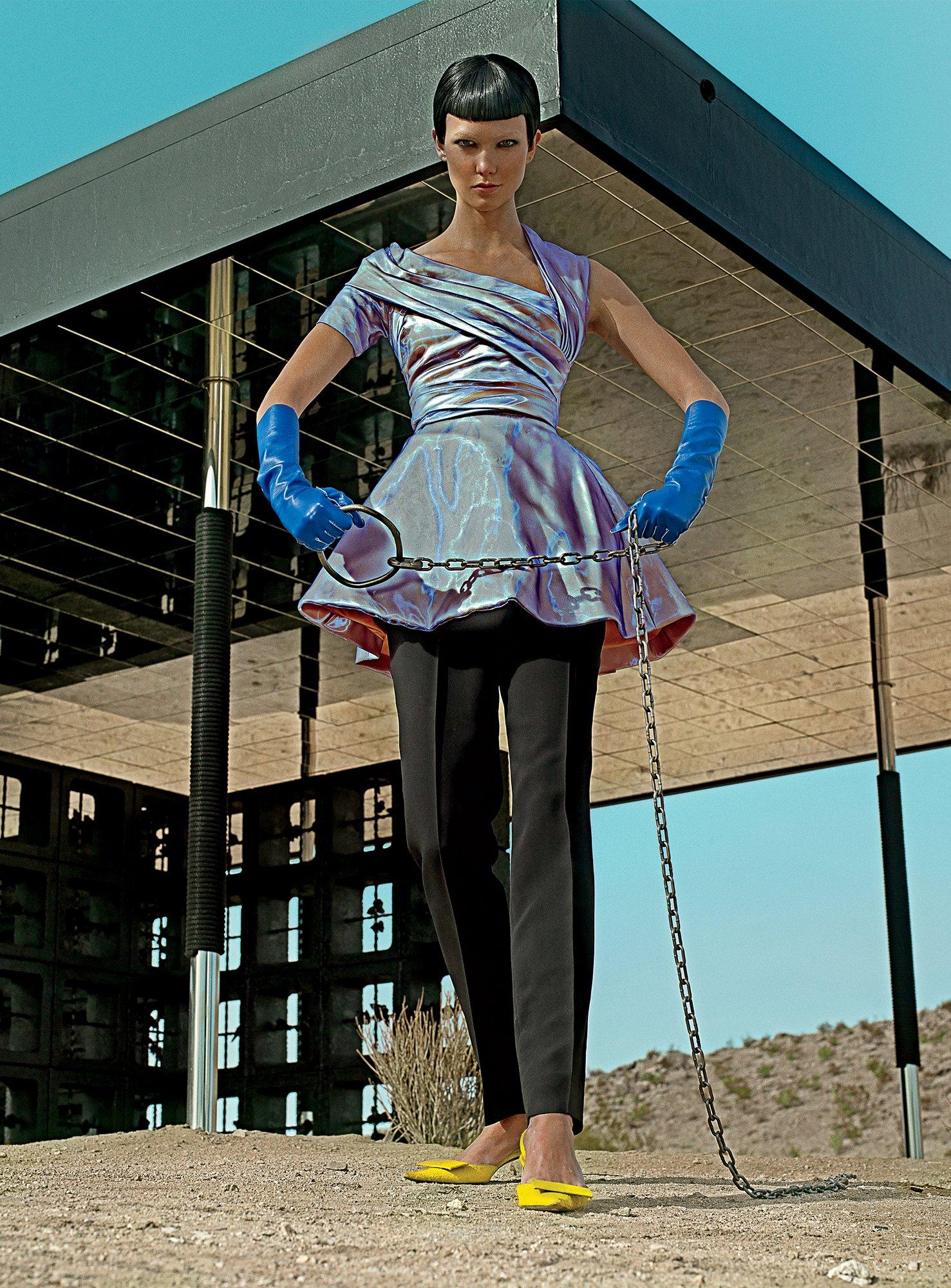 Karlie Kloss in a Christian Dior dress