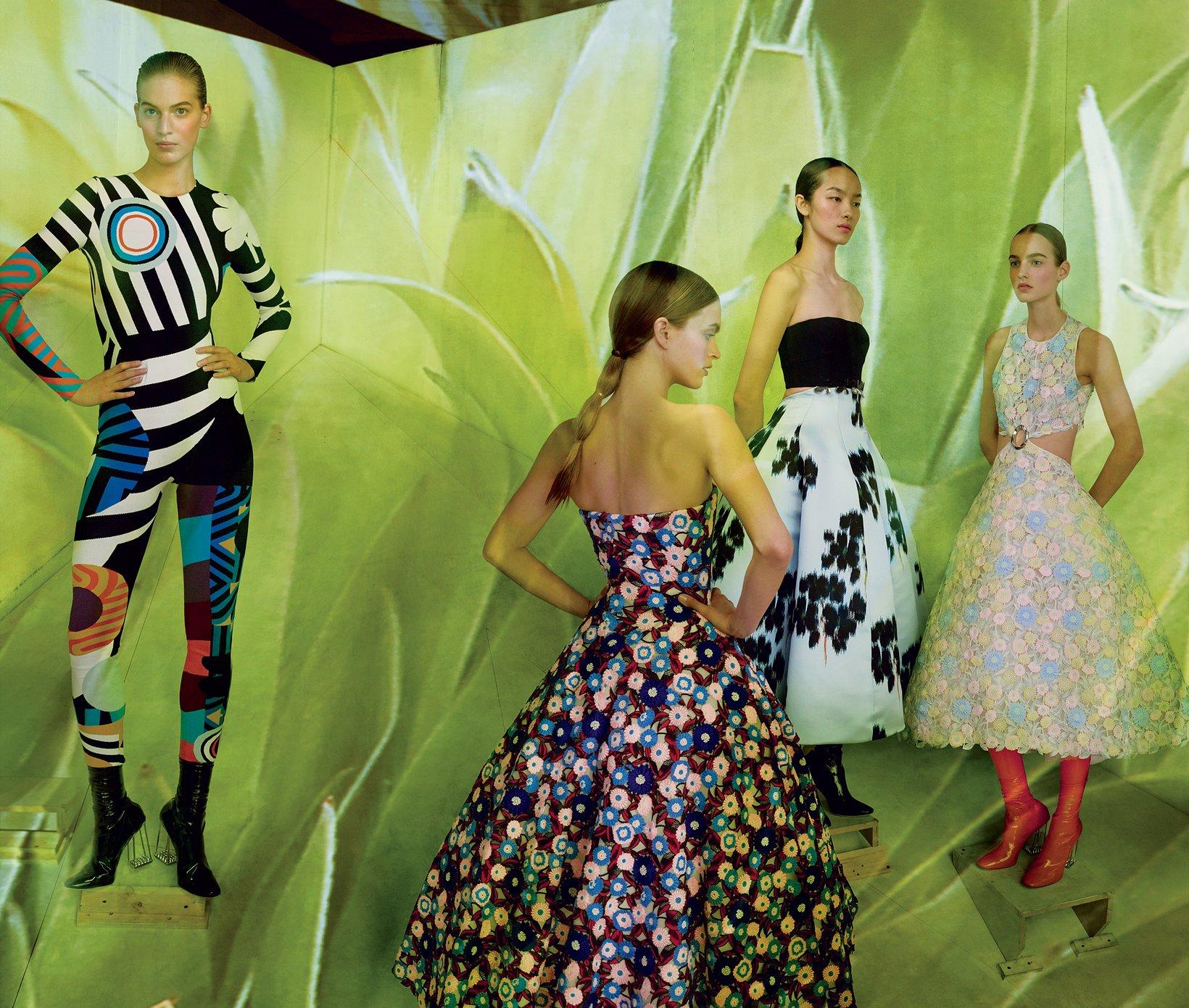 Vanessa Axente,Mirte Maas,Fei Fei Sun,and Maartje Verhoof,all in Christian Dior Haute Couture.