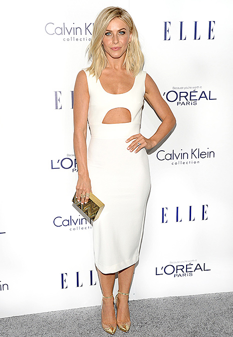 Julianne Hough attends the 22nd Annual ELLE Women in Hollywood Awards at Four Seasons Hotel Los Angeles at Beverly Hills on October 19, 2015 in Los Angeles, California. Credit: Michael Kovac/Getty Images for ELLE    Wearing white is no big thing for  Julianne Hough , who became engaged to fiancé Brooks Laich in August. Sporting a dress perfect for a bridal shower or bachelorette party, the  Dancing With the Stars judge, 27, showed off her fit physique in a sleek cutout ensemble that she accessorized with a gold Emm Kuo clutch and matching ankle strap Nicholas Kirkwood shoes.    Read more: http://www.usmagazine.com/celebrity-style/news/amal-alamuddin-reese-witherspoon-more-celebs-break-labor-day-rule-20152310#ixzz3ph4DBLwA  Follow us: @usweekly on Twitter | usweekly on Facebook