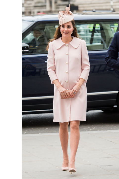 What:Alexander McQueen coat (last seen when the Duchess was pregnant with George in 2013)  When:March 9  Where:Westminster Abbey