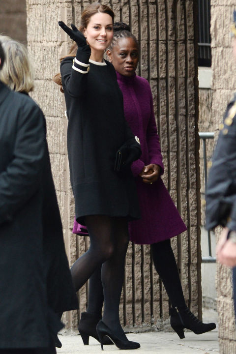 What:Goat coat and Jimmy Choo heels  When:December 8  Where:Visiting the Northside Center for Child Development with the First Lady of New York in NYC.  AP IMAGES