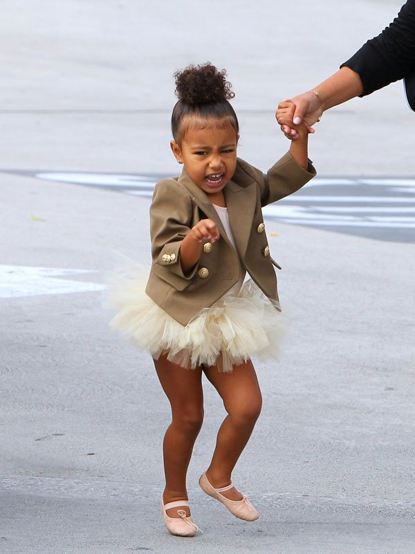 Kim Kardashian  's daughter looked as cute as ever when she rocked a mini tutu with a stylish Balmain blazer! But once she stepped outside, she showed off her sassy side to photographers!