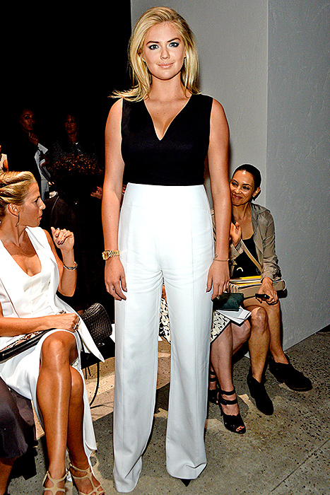 Kate Upton attends the Narciso Rodriguez Spring 2016 fashion show during New York Fashion Week at SIR Stage 37 on September 15, 2015 in New York City.  Credit: Ben Gabbe/Getty Images      Kate Upton  modeled Narciso Rodriguez's black-topped, white-bottomed design while attending the designer's NYFW show on Sept. 15.    Read more:  http://www.usmagazine.com/celebrity-style/news/celebs-are-obsessed-with-black-and-white-jumpsuits-shop-the-trend-20152810#ixzz3qRBBOU00   Follow us:  @usweekly on Twitter  |  usweekly on Facebook