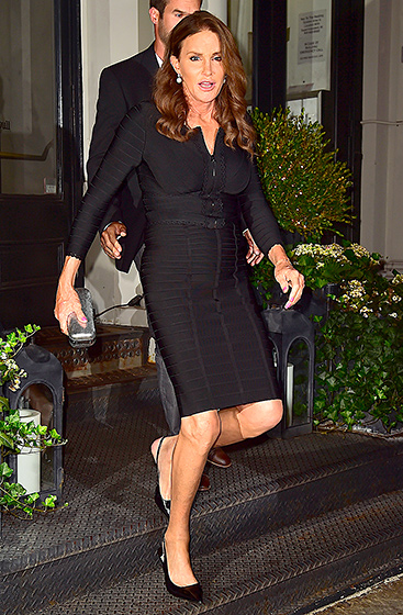 Just Like Kim!  Jenner had her ultimate Kardashian moment on June 29, 2015, when she hit the pavement in NYC wearing a body-con Herve Leger bandage dress. A metallic clutch and black slingbacks completed the outfit. Read more: http://www.usmagazine.com/celebrity-style/pictures/caitlyn-jenner-best-style-moments-2015157/46388#ixzz3qRFRLOUy  Follow us: @usweekly on Twitter | usweekly on Facebook