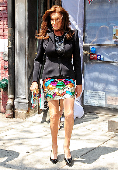 Shine On, Girl!  Later that day, Jenner was snapped leaving Patricia Field's NYC shop wearing a completely new ensemble, including a neoprene jacket, sequined top, and a rainbow miniskirt, finished with a Disney Princess-emblazoned clutch.  Read more: http://www.usmagazine.com/celebrity-style/pictures/caitlyn-jenner-best-style-moments-2015157/46390#ixzz3qRGKW17j  Follow us: @usweekly on Twitter | usweekly on Facebook