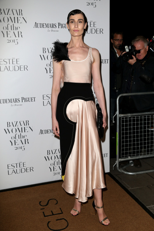 Model Erin O'Connor glammed up in a two-tone pink and black satin frock, with a feather shoulder detail.   [Photo: Getty]