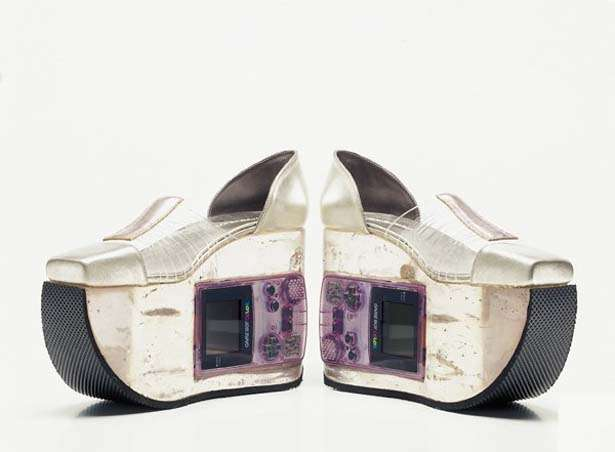 6. If you ever get bored when wearing these platforms, you can whip the Gameboy out of them and start playing. They look edgier and more futuristic than the 'Back To The Future' shoes, and we want them ASAP.