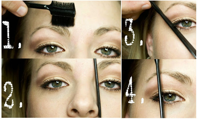 1) Brush your eyebrows. You should always pay attention to their natural growth direction!   2) Take a pencil and hold it vertically from the nostril to the inner corner of the eyebrow.   3) Define the right length of your brows by placing a pencil diagonally from the base of the nose to the outer corner of your eye. The brow should end where the pencil and your brow meet.   4) Define the right place for the arch (the peak of your brow). Here you need to hold the pencil vertically from the outer iris. Now you can remove some hair from underneath to enhance the arch.